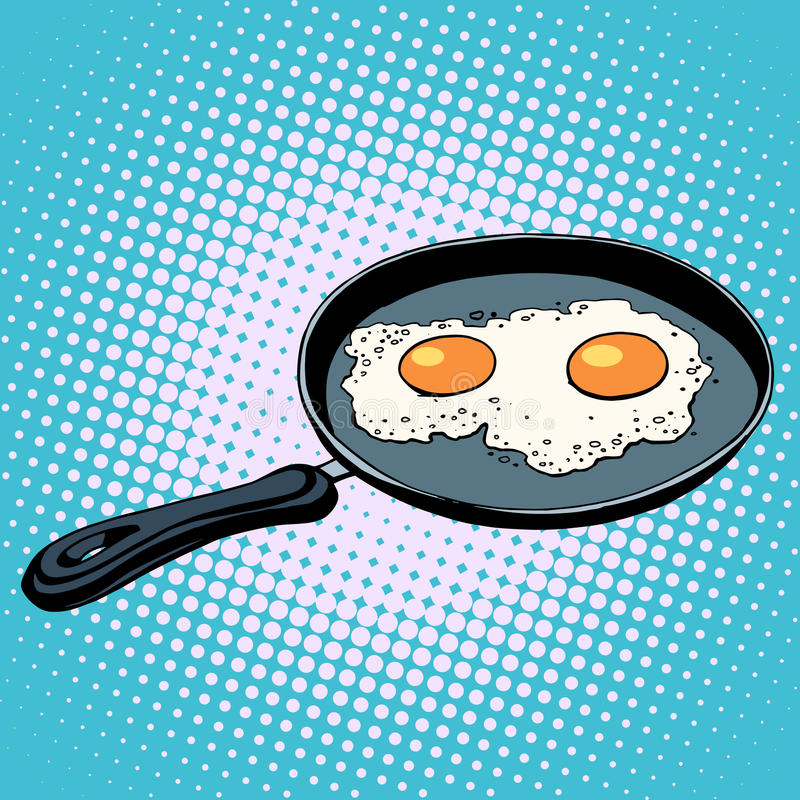 Frying pan with fried eggs finished dish. Pop art retro style stock illustration