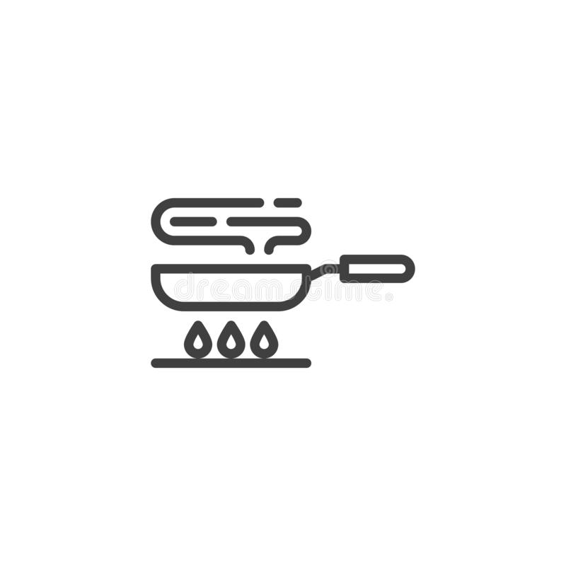 Frying pan on gas stove line icon royalty free illustration