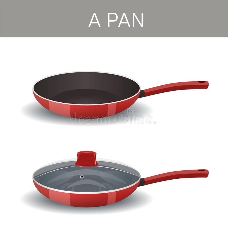A frying pan with glass lid and without it. Vector icon vector illustration