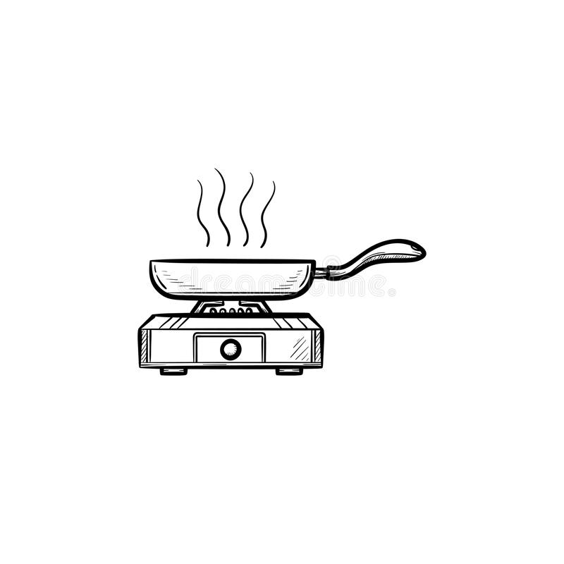 Frying pan hand drawn sketch icon. Frying pan hand drawn outline doodle icon. Pan with food on heat vector sketch illustration for print, web, mobile and stock illustration