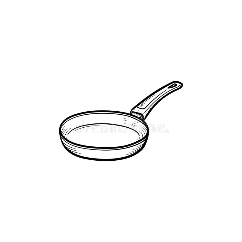 Frying pan hand drawn sketch icon. Frying pan hand drawn outline doodle icon. Pan for frying food on heat vector sketch illustration for print, web, mobile and royalty free illustration