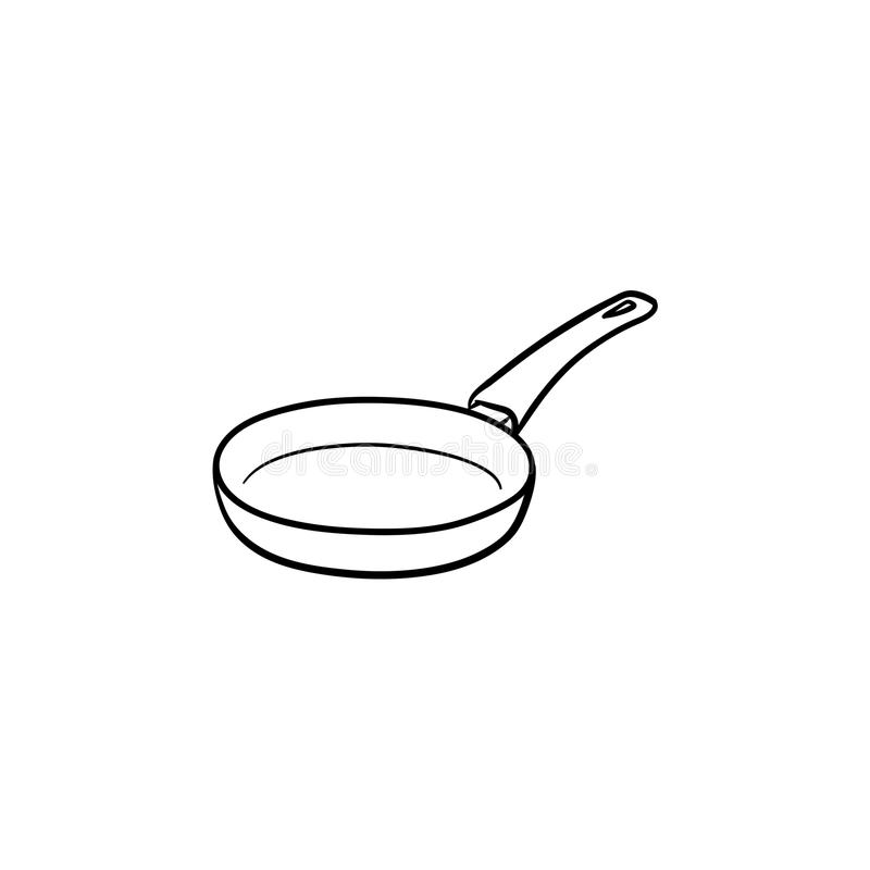 Frying pan hand drawn sketch icon. Frying pan hand drawn outline doodle icon. Pan for frying food on heat vector sketch illustration for print, web, mobile and vector illustration