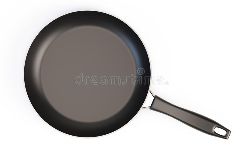 Frying pan with handle. 3d render royalty free illustration