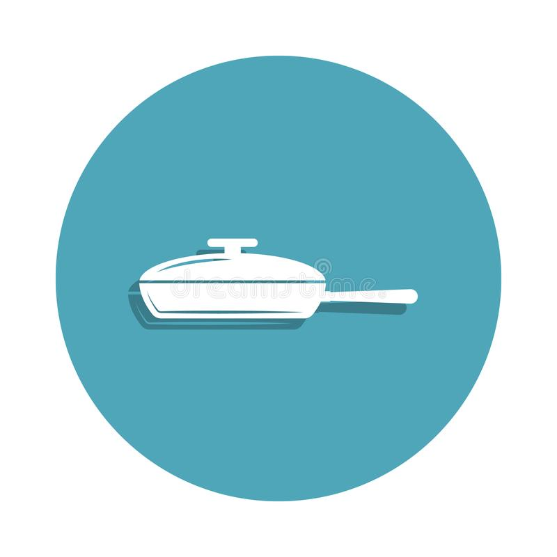 Frying pan icon in badge style. One of kitchen tools collection icon can be used for UI, UX. On white background stock illustration