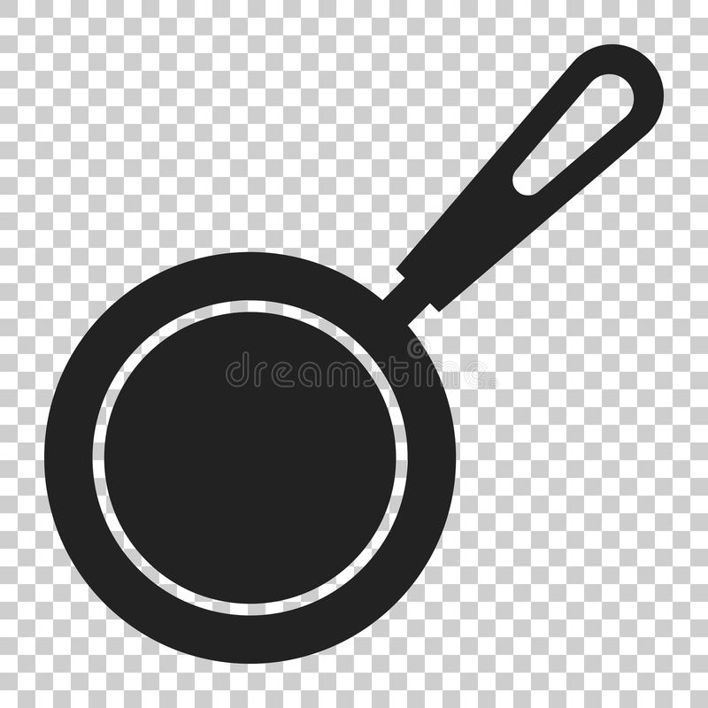 Frying pan icon in flat style. Cooking pan illustration on isolated transparent background. Skillet kitchen equipment business co stock illustration