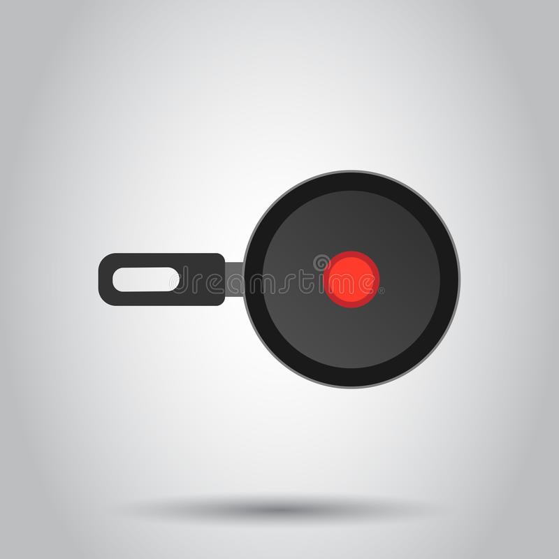 Frying pan icon in flat style. Cooking pan illustration on white background. Skillet kitchen equipment business concept stock illustration