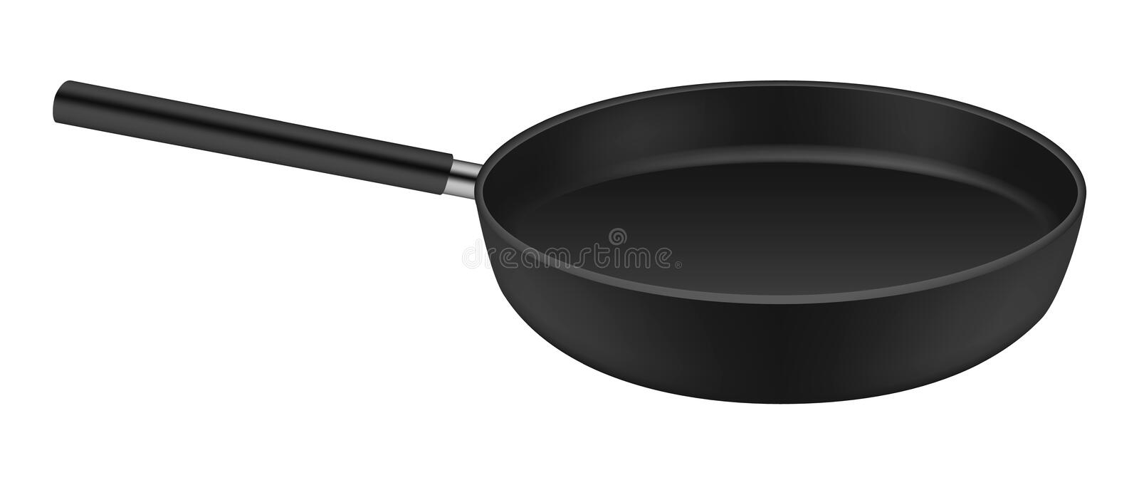 Frying pan icon, realistic style. Frying pan icon. Realistic illustration of frying pan vector icon for web design isolated on white background stock illustration