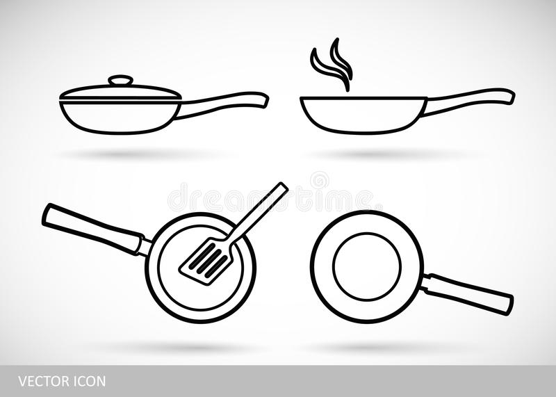 Frying pan icon. Set of icon pans. Frying pan icon. Set of vector icon pans in style of flat design royalty free illustration