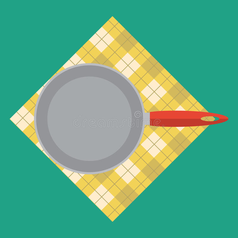 Frying pan icon from top view. Vector illustration with flat color style design for icon stock illustration