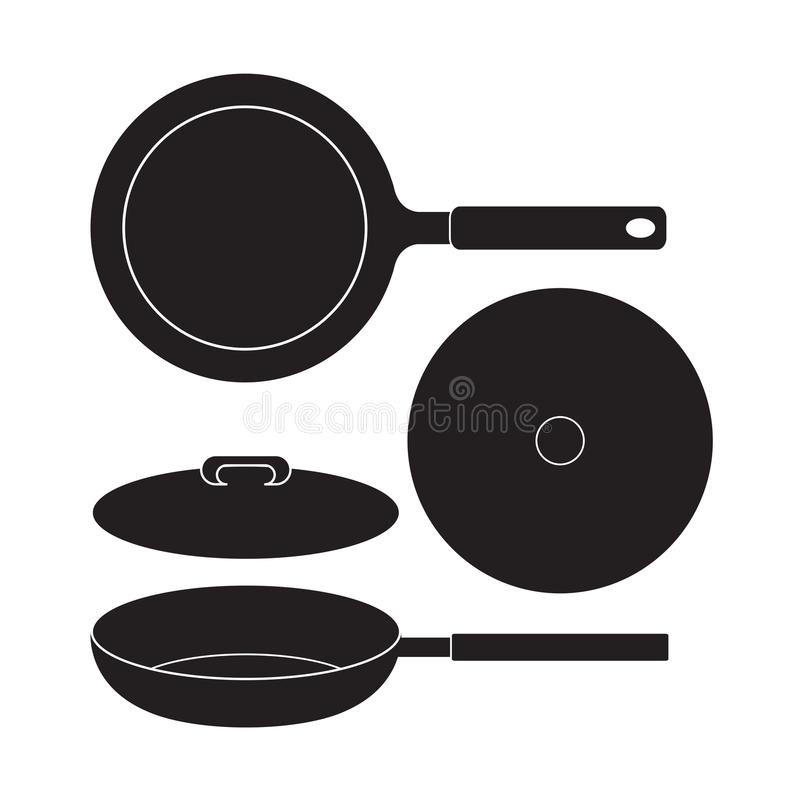 Frying Pan icon Vector Illustration. Flat Sign isolated on White Background. Frying Pan icon Vector Illustration. Flat Sign isolated on White Background stock illustration