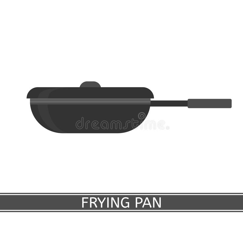 Frying Pan Icon. Vector illustration of frying pan isolated on white background. Camping equipment for cooking. Frypan with lid in flat style vector illustration