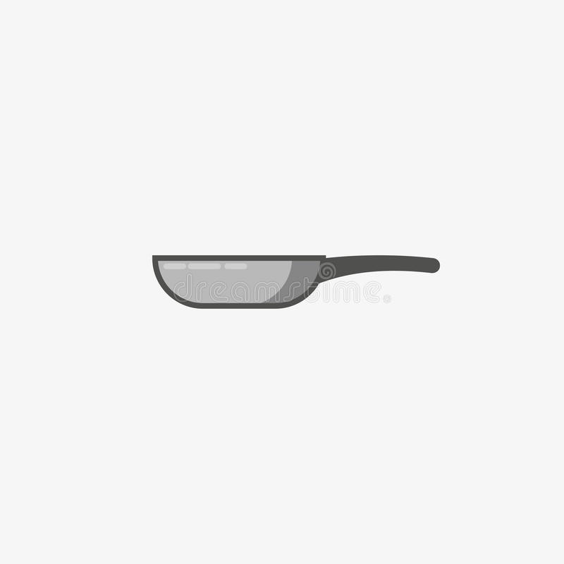Frying pan icon. Vector silhouette icon. skillet grey illustration. Frying pan logo concept. Pan cooking steel home kitch. En equipment vector illustration