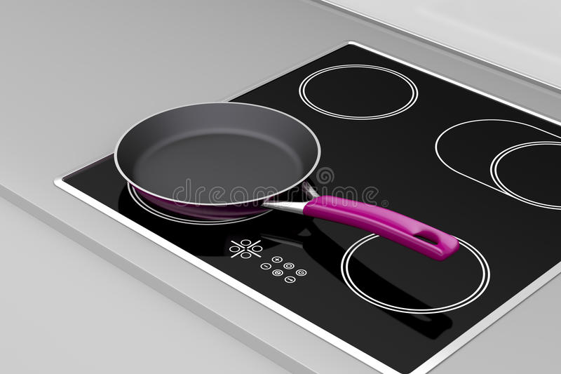 Frying pan. At the induction cooktop vector illustration