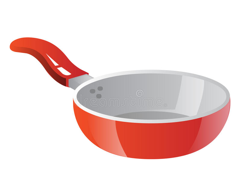 Frying pan isolated illustration. On white background stock illustration