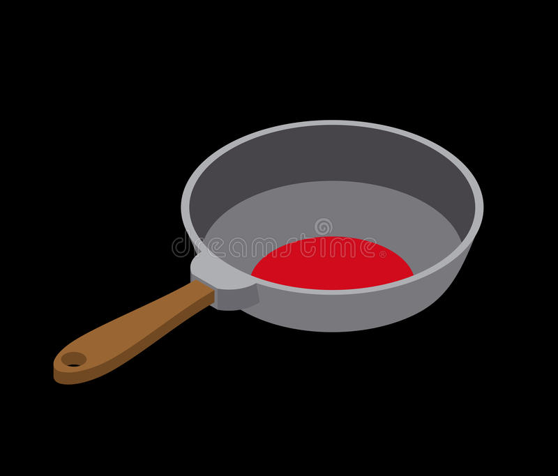 Frying pan isolated isometry. Fry dishes on white background.  stock illustration