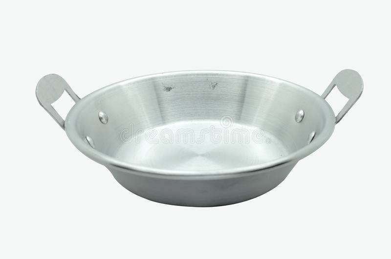 Frying pan isolated on white background. Steel frying pan isolated on white background stock photo
