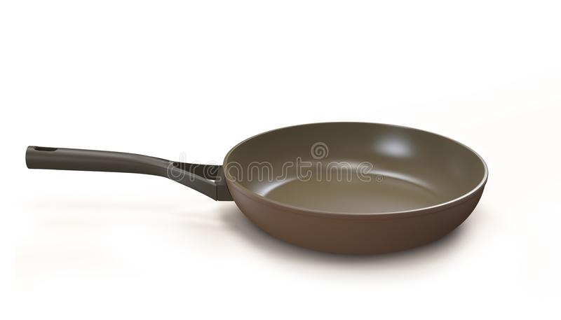 Frying pan isolated. On white vector illustration