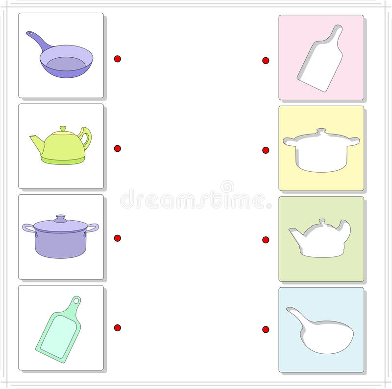 Frying pan, kettle, saucepan, cutting board. Educational game for kids. Choose the correct silhouettes on the opposite side and connect the points royalty free illustration