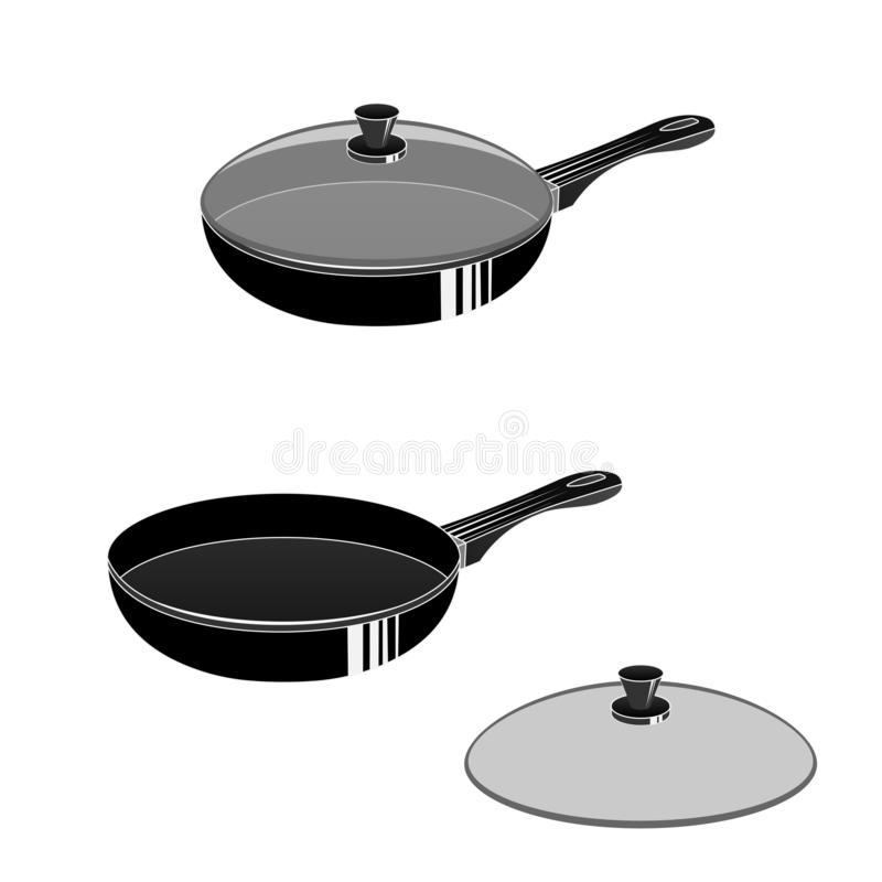 Pan. Frying pan with lid, for cooking. Vector illustration stock illustration