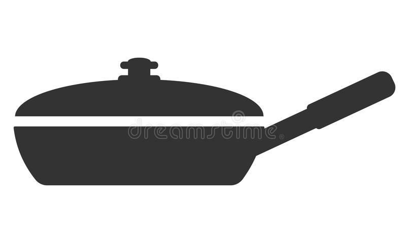 Frying pan with a lid in a front view. Frying pan with a lid in front view vector illustration