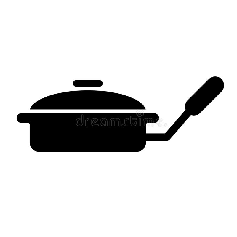 Frying pan with lid solid icon. Griddle vector illustration isolated on white. Kitchenware glyph style design, designed. For web and app. Eps 10 vector illustration