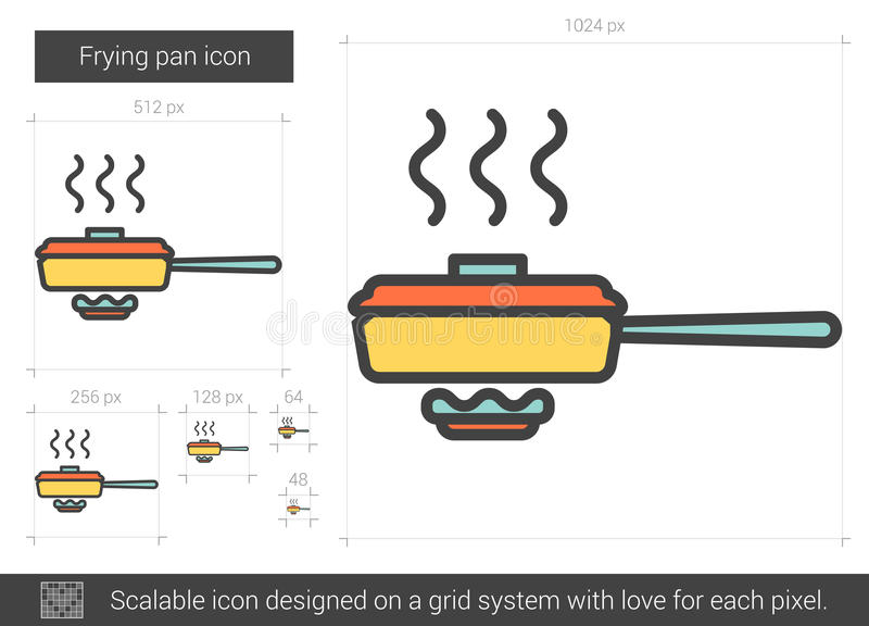 Frying pan line icon. Frying pan vector line icon isolated on white background. Frying pan line icon for infographic, website or app. Scalable icon designed on vector illustration