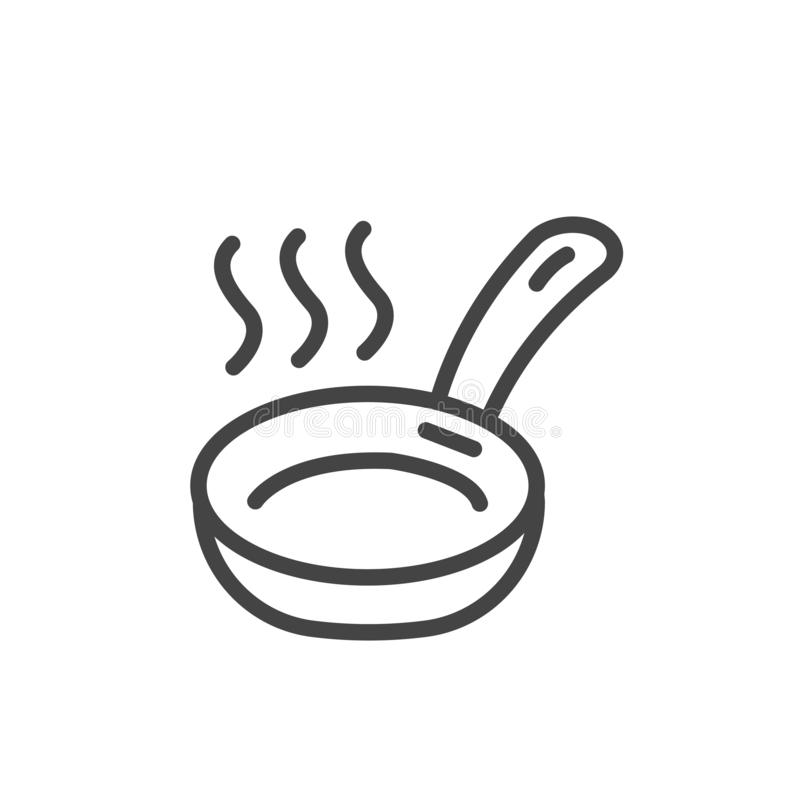 Frying pan minimal icon isolated. Modern outline on white background. Vector vector illustration