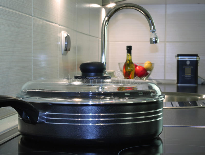 Download Frying Pan In Modern Kitchen Stock Photo - Image of furniture, cook: 11455414