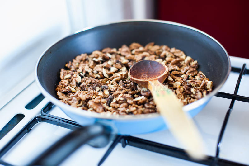 Download A frying pan with nuts stock image. Image of edible, food - 26643773