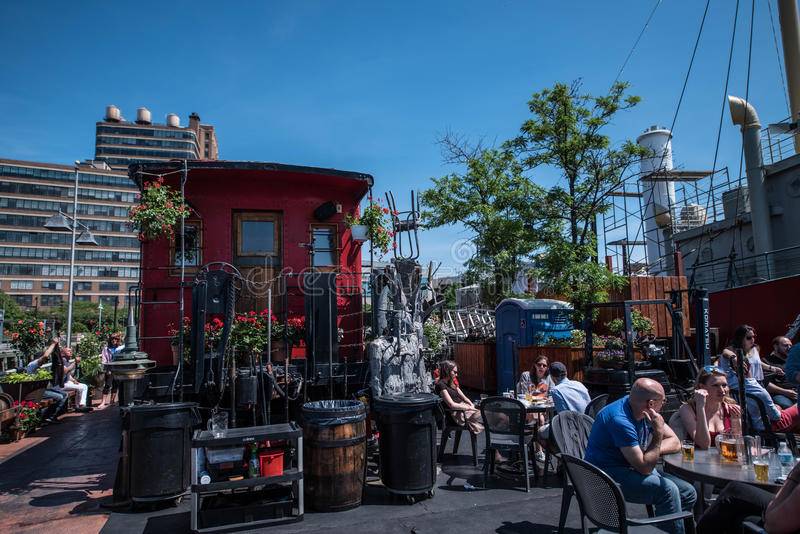 Frying Pan NYC. The Frying Pan is a salvaged light ship converted to a dive bar on NYC`S west side stock image