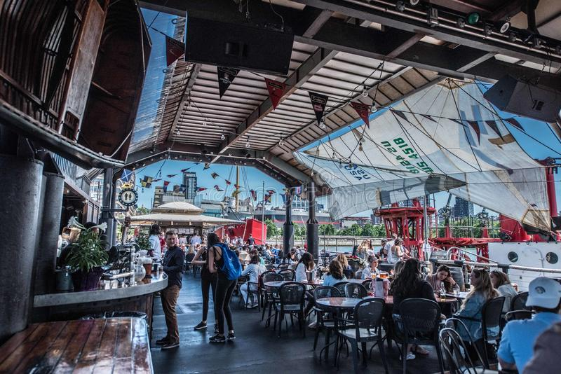 Frying Pan NYC. The Frying Pan is a salvaged light ship converted to a dive bar on NYC`S west side stock photography