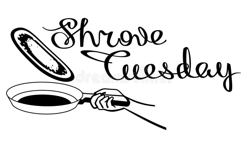 Frying pan with a pancake. Raster clip art. Frying pan with a pancake. Picture with artistic written sign `Shrove Tuesday`. Raster clip art stock illustration