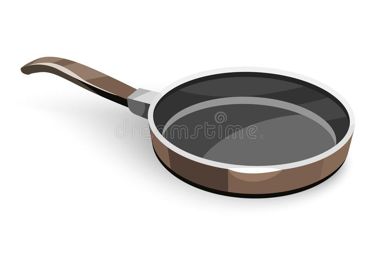 Frying pan for pancakes or eggs fry-up and cooking food. Isolated white background. Vector illustration stock illustration