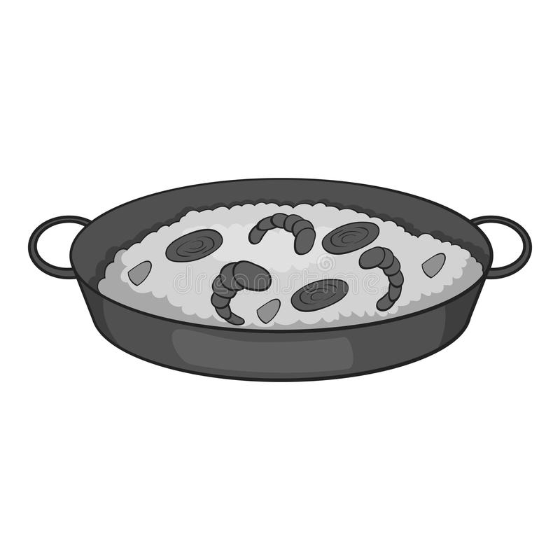 Frying pan with rice and shrimp icon. Gray monochrome illustration of  for web vector illustration