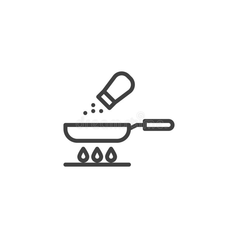 Frying pan and salt line icon. Food preparation process linear style sign for mobile concept and web design. Cooking on gas stove outline vector icon. Symbol royalty free illustration