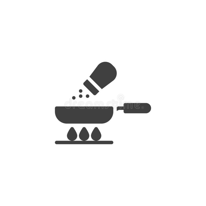 Frying pan and salt vector icon. Food preparation process filled flat sign for mobile concept and web design. Cooking on gas stove glyph icon. Symbol, logo vector illustration