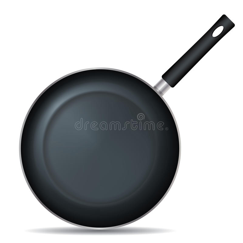 Frying Pan Set 1. Drawing on the frying pan with a white background royalty free illustration