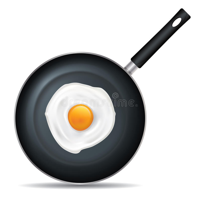 Frying Pan Set 2. Drawing on the frying pan with a white background royalty free illustration