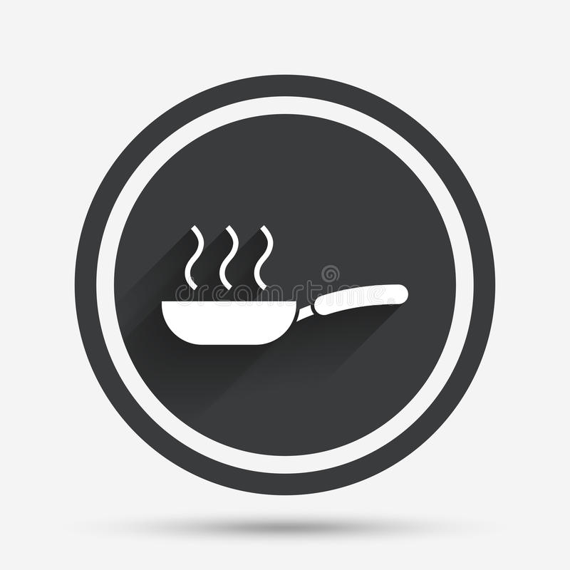 Frying pan sign icon. Fry or roast food symbol. Circle flat button with shadow and border. Vector vector illustration