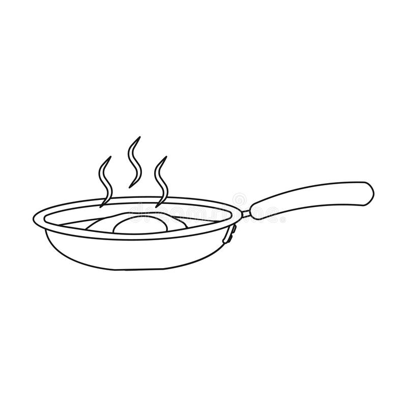 Frying pan, single icon in outline style.Frying pan vector symbol stock illustration web. vector illustration