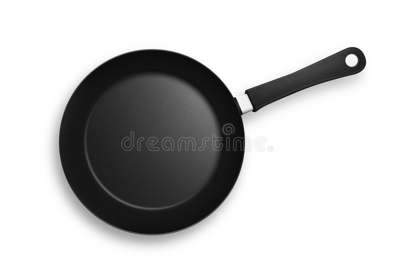 Frying Pan - Skillet. Black frying pan with plastic handle. Isolated on a white background with shadows and clipping path royalty free illustration