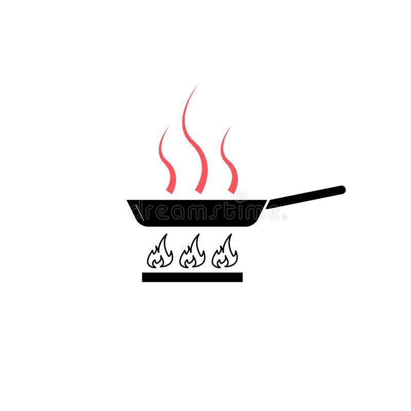 Frying pan on the stove vector illustration