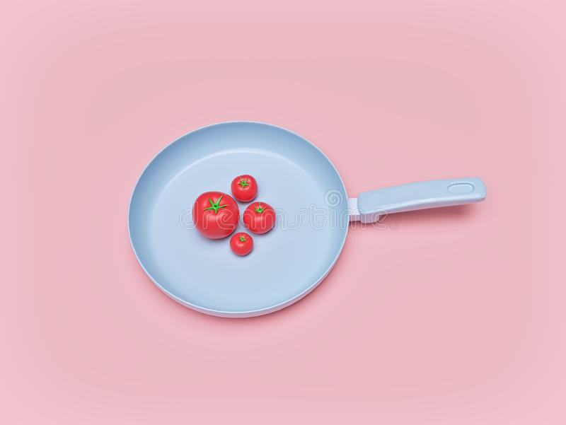 Frying pan with Tomatoes. top view. cooking concept. 3d rendering. Frying pan with Tomatoes isolated on pastel background. top view. cooking concept. minimal royalty free illustration