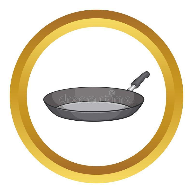 Frying pan vector icon. In golden circle, cartoon style isolated on white background stock illustration