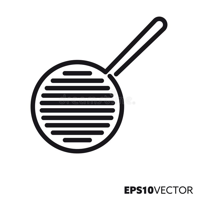 Frying pan vector line icon. Frying pan line icon. Outline symbol of kitchen equipment and cooking. Household utensil flat vector illustration royalty free illustration