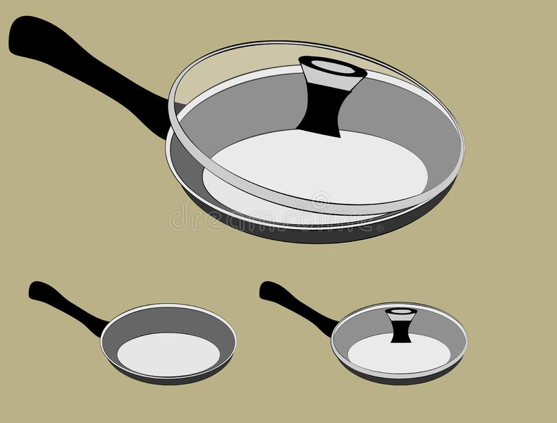 Frying pan vector set with lid. With a glass lid on a light background stock illustration