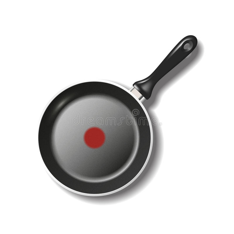 Frying pan on white. Top view of empty frying pan isolated on white with shadow. Vector illustration vector illustration