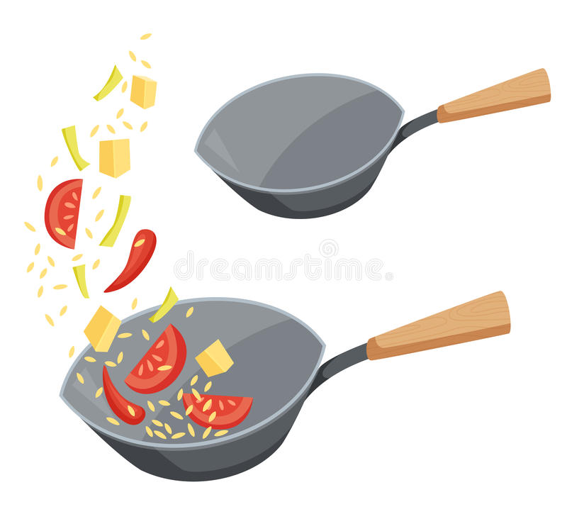 Frying pan wok. With fried vegetables and rice or empty. Cooking process vector illustration. Kitchenware and utensils isolated on white. Tasty food vector illustration
