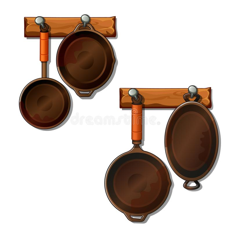 Frying pans and saucepans hangs on nails. Vector. Frying pans and saucepans hangs on nails. Convenient location of kitchen utensils on special hooks royalty free illustration