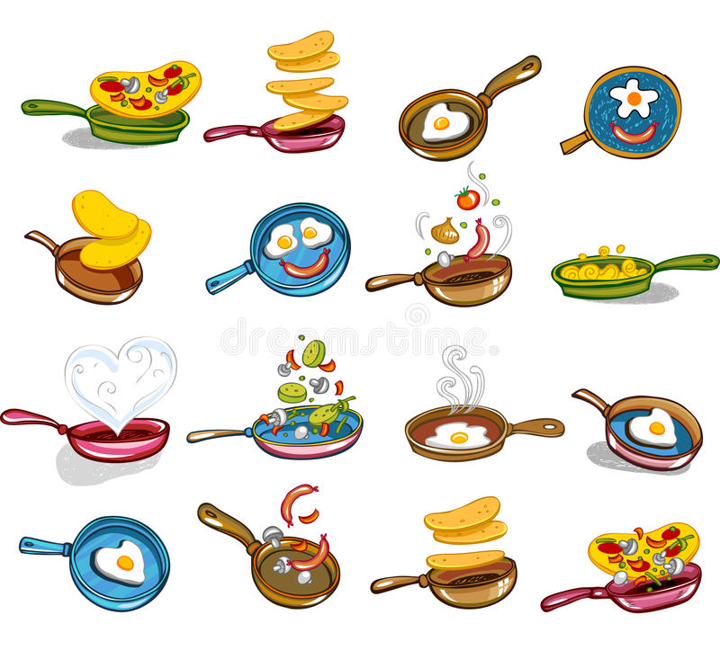 Frying pans with tasty food vector illustration